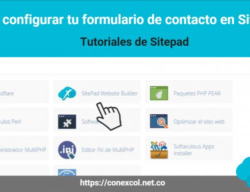 Como configurar tu formulario de contacto en Sitepad